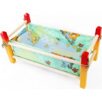Toy Postýlka dřevěná malá barevná 39 cm Červenožlutá konstrukce