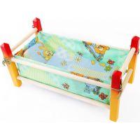 Toy Postýlka dřevěná malá barevná 39 cm pro panenku s peřinkou Zeleno žlutá konstrukce