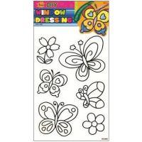 Předlohy na malování na sklo s vyvýšenou konturou motýli květina