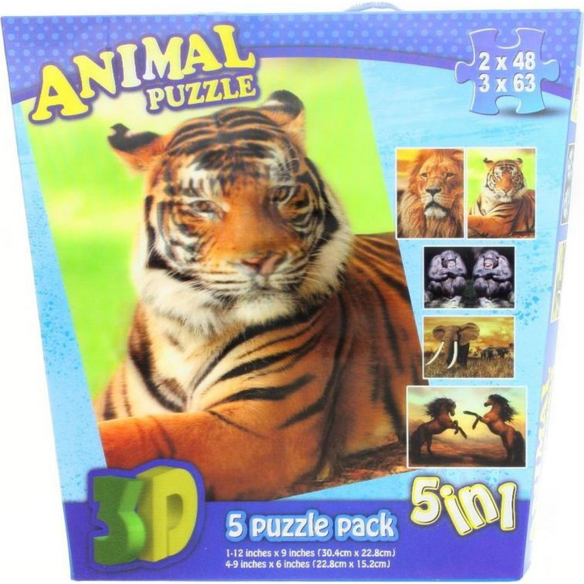 Lamps 3D Puzzle Zvířata 5 v 1 2 x 48 a 3 x 63 dílků