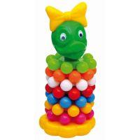 Toy Pyramida skládací malé kroužky s kuličkami