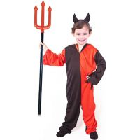 Rappa Detský kostým čert s rohmi veľkosť S