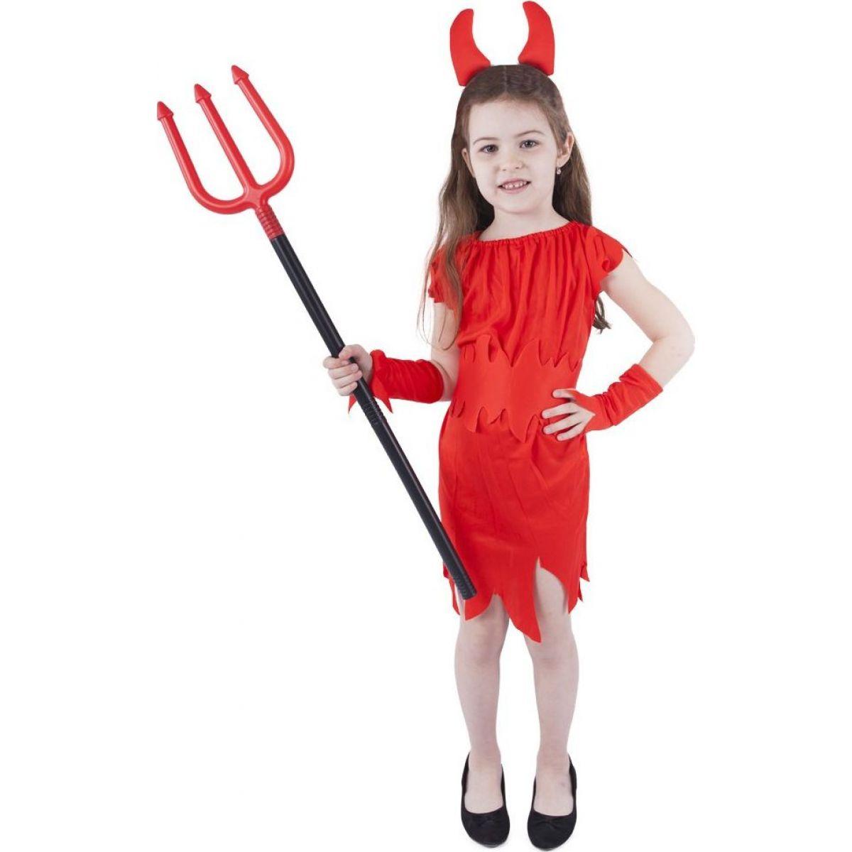 Rappa Detský kostým čertica s rohmi veľkosť S