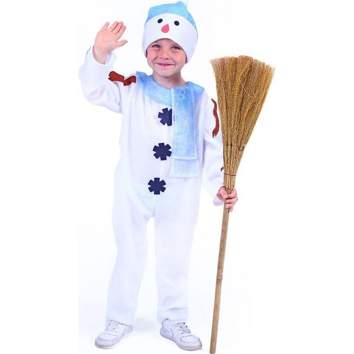 Rappa Dětský kostým sněhulák s čepicí a modrou šálou vel. M