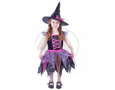 Rappa Dětský kostým Čarodějnice s kloboukem vel. S
