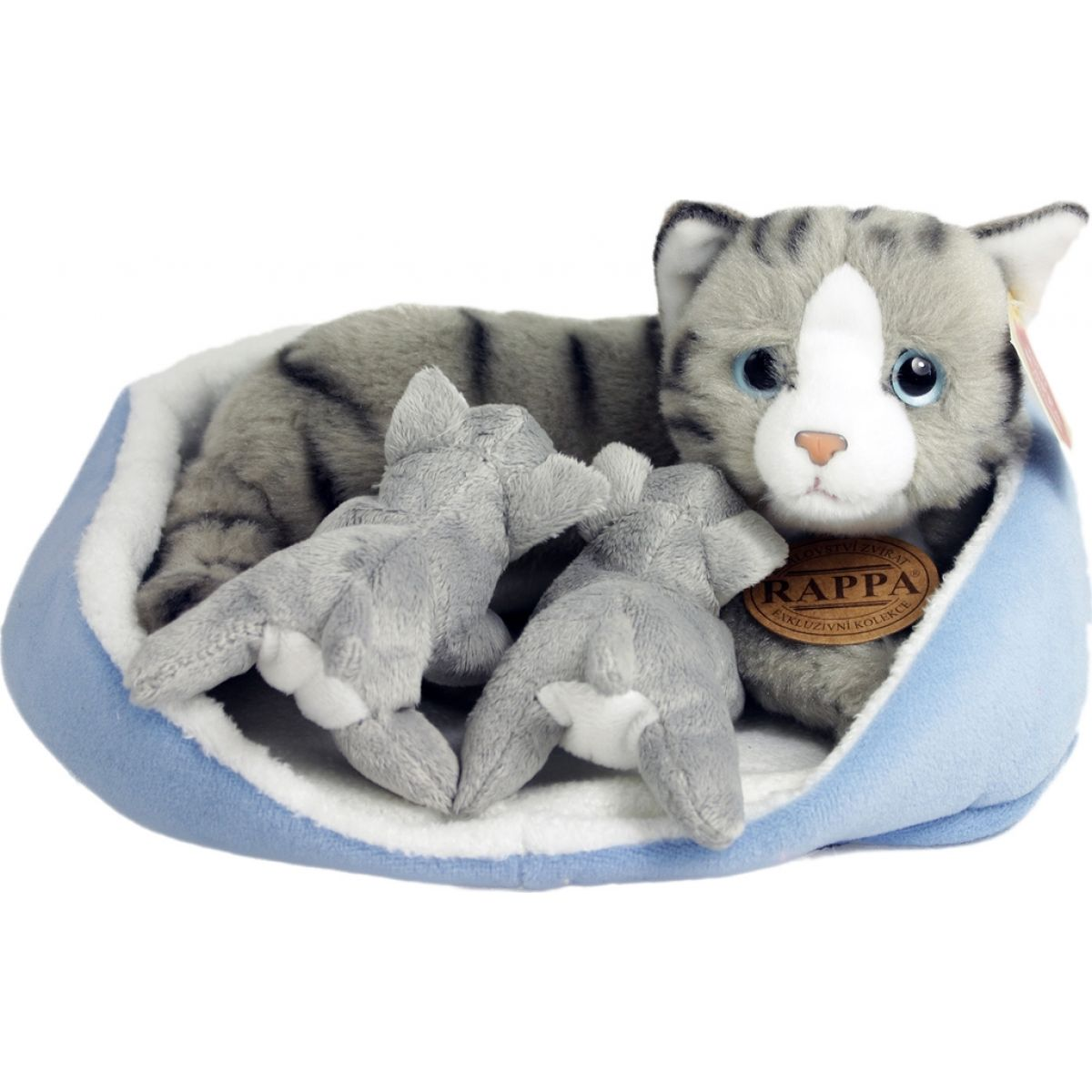 Plyšová kočka s mláďaty v pelíšku