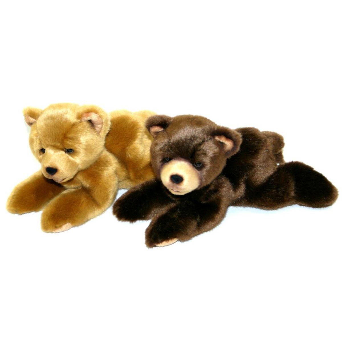 Rappa Plyšový medvěd 15 cm ležící - Světle hnědý