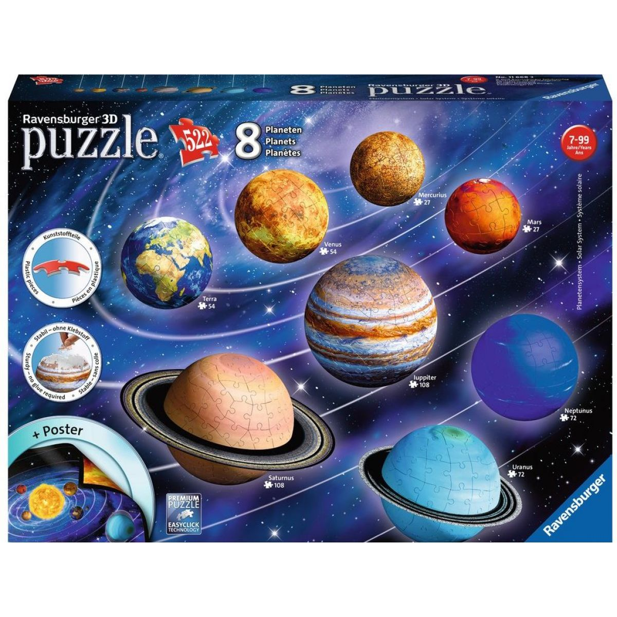 Ravensburger 3D Puzzle Planetární soustava 522 dílků