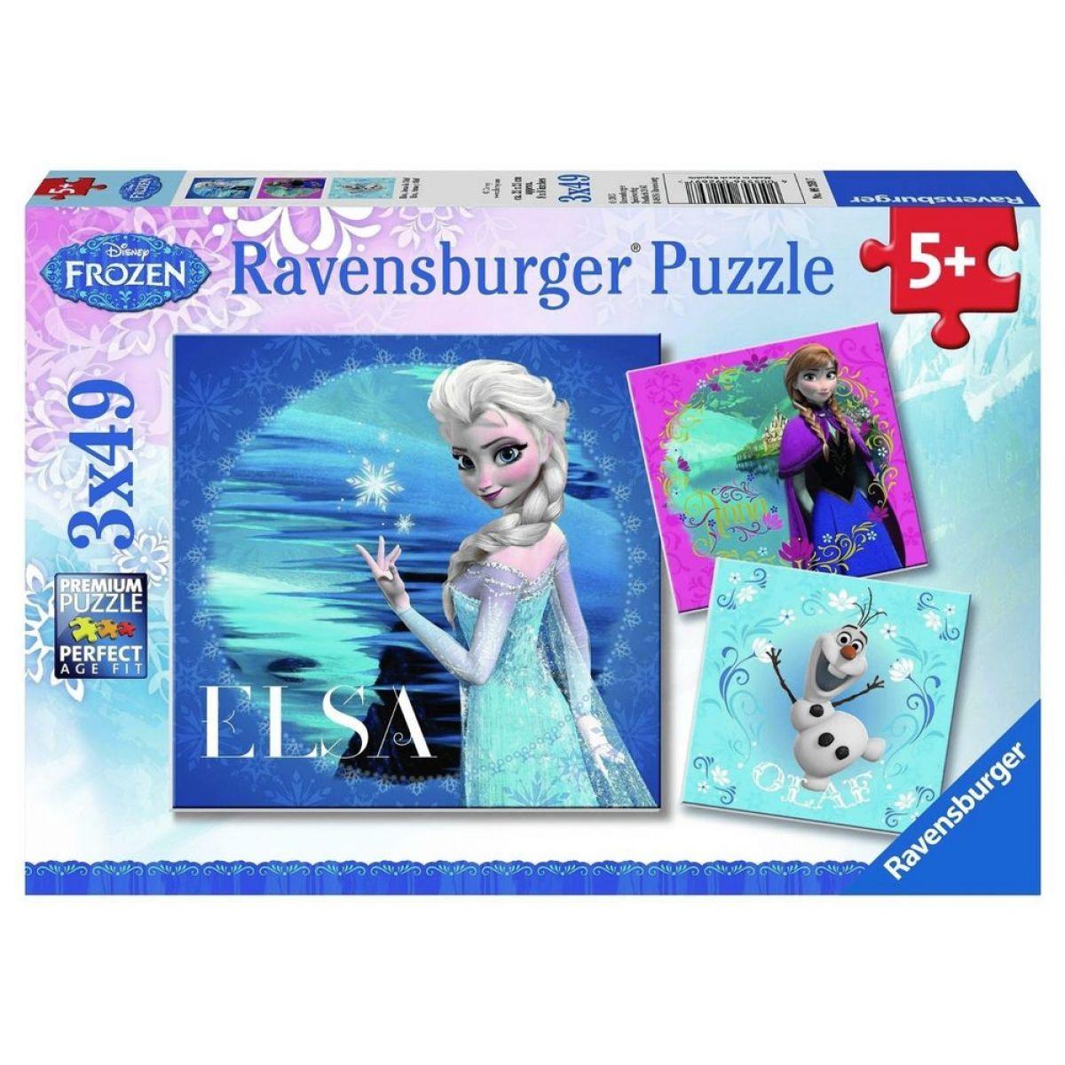 Ravensburger Disney Ledové království Elsa, Anna, Olaf 3 x 49 dílků