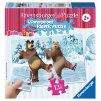 Ravensburger Máša a medvěd Voděodolné puzzle Bruslení 12 dílků