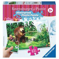 Ravensburger Máša a medvěd Voděodolné puzzle Rybolov 12 dílků
