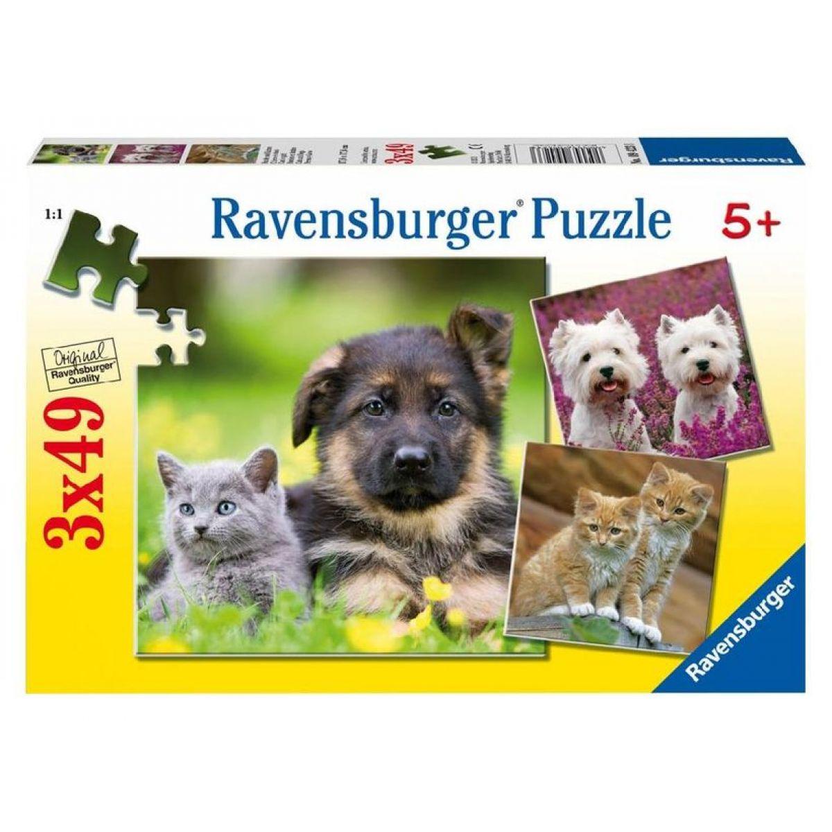 Puzzle Psi a kočky 3x49d Ravensburger