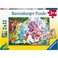 Ravensburger puzzle Kouzelný svět jednorožců 2 x 12 dílků
