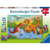 Ravensburger puzzle Hraví dinosauři 2 x 24 dílků