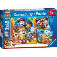 Ravensburger Puzzle Labková patrola Hry v lístí 3 x 49 dielikov