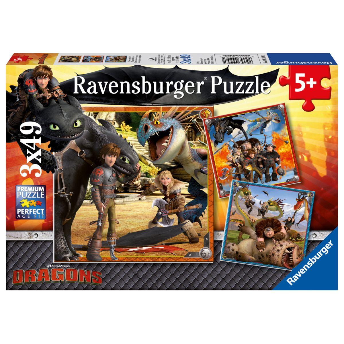 Ravensburger puzzle Jak vycvičit draka 3 x 49 dílků