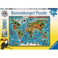Ravensburger puzzle Ilustrovaná mapa světa 300 XXL dílků