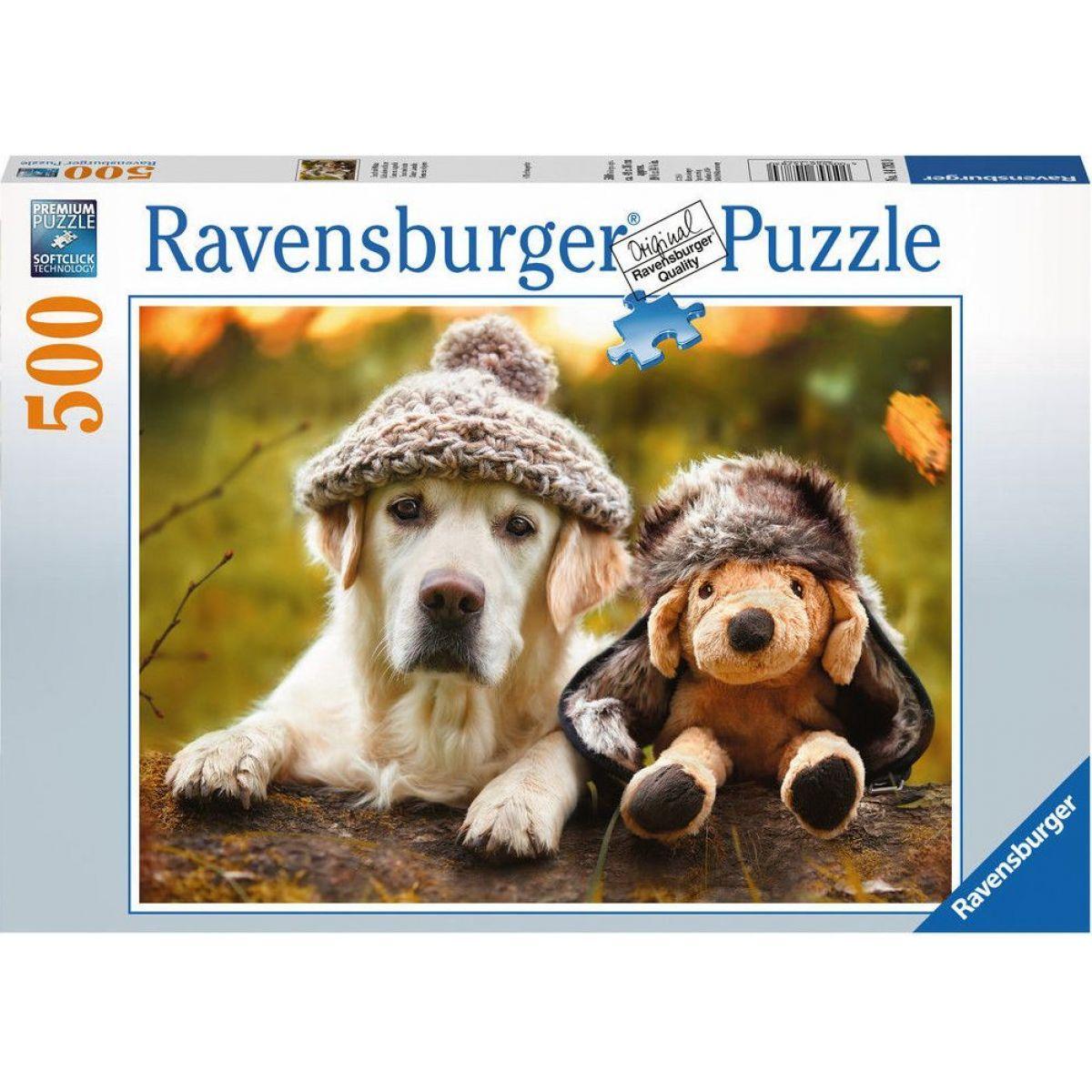 Ravensburger puzzle Pes s čepicí 500 dílků