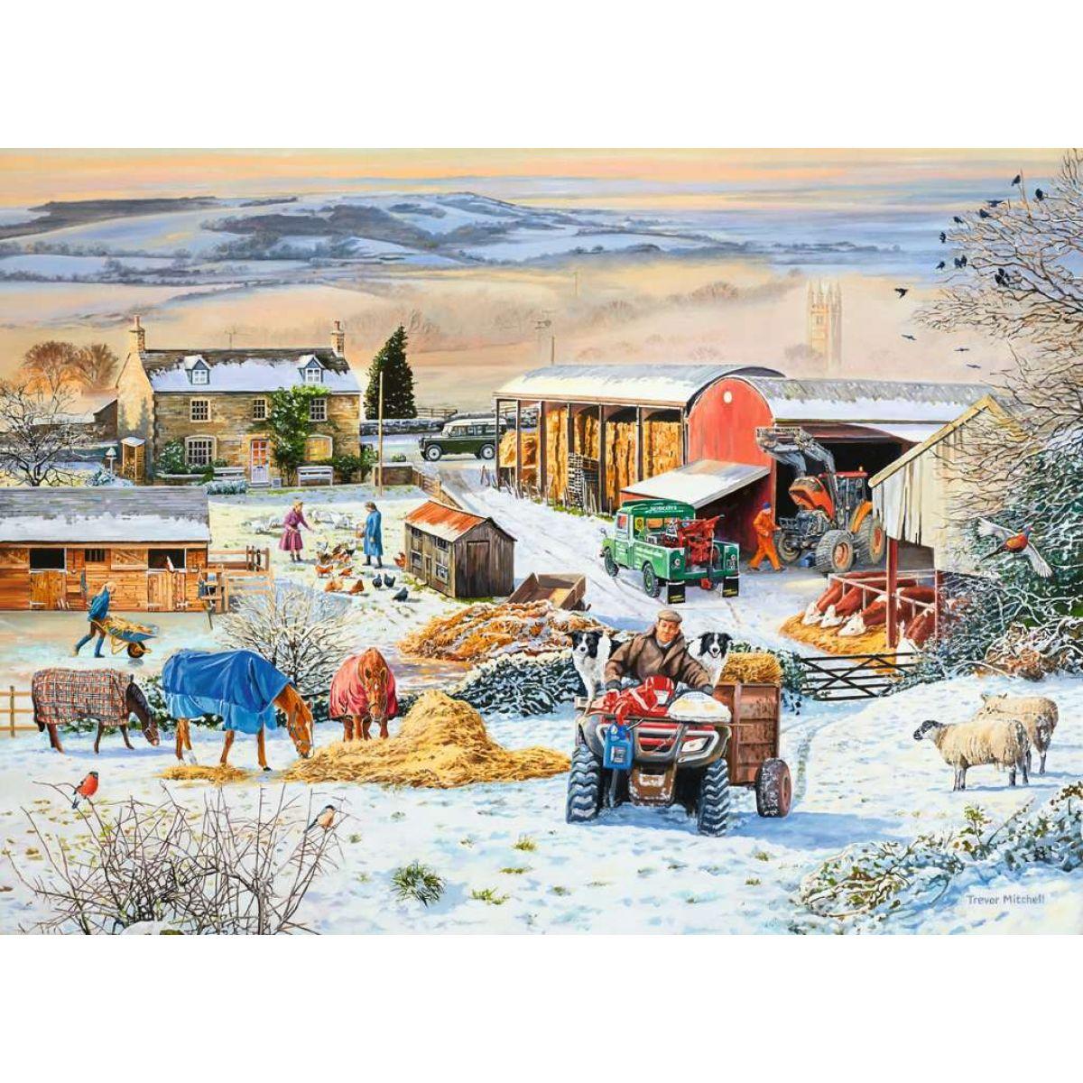 Ravensburger puzzle 164783 Zima na farme 1000 dielikov