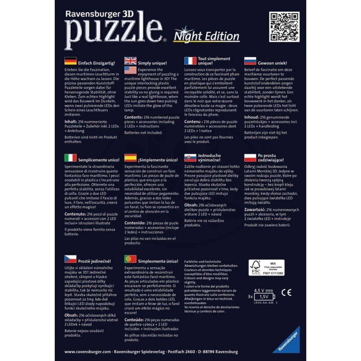 a532de65d Ravensburger Puzzle 3D Maják v příboji Noční edice 216 dílků | 4kids
