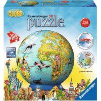 Ravensburger Puzzle 3D Zeměkoule zvířata puzzleball 108 dílků
