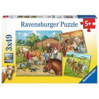 Ravensburger Puzzle Koňská farma 3 x 49 dílků