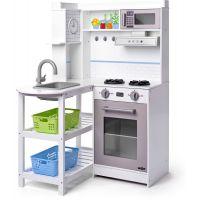 Woody Rohová kuchyňka s plastovými koši bílá