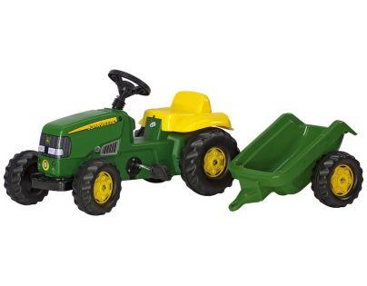 Rolly Toys 012190 - Šlapací traktor Rolly Kid J.Deere s vlečkou Zelený