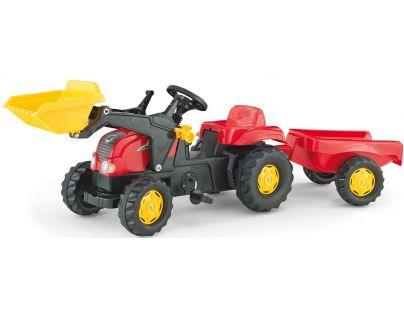 Rolly Toys 023127 - Šlapací traktor Rolly Kid s přívěsem a nakladačem-červený