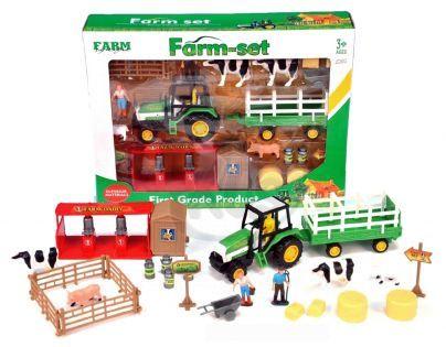 Teddies 61905-DP-3092 - Sada farma s traktorem a vlekem v krabici 38x28x7,5cm