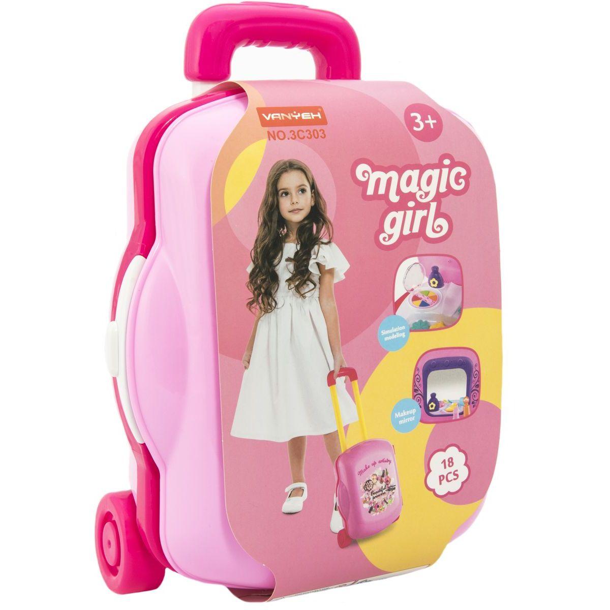 Plastový kufřík na kolečkách růžový