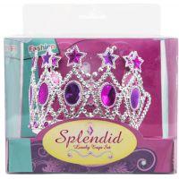 Sada krásy s plastovou korunkou a náhrdelníkem s naušnicemi karneval 2