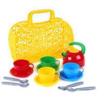 Sada nádobí plastová 3 barvy v košíku žlutý