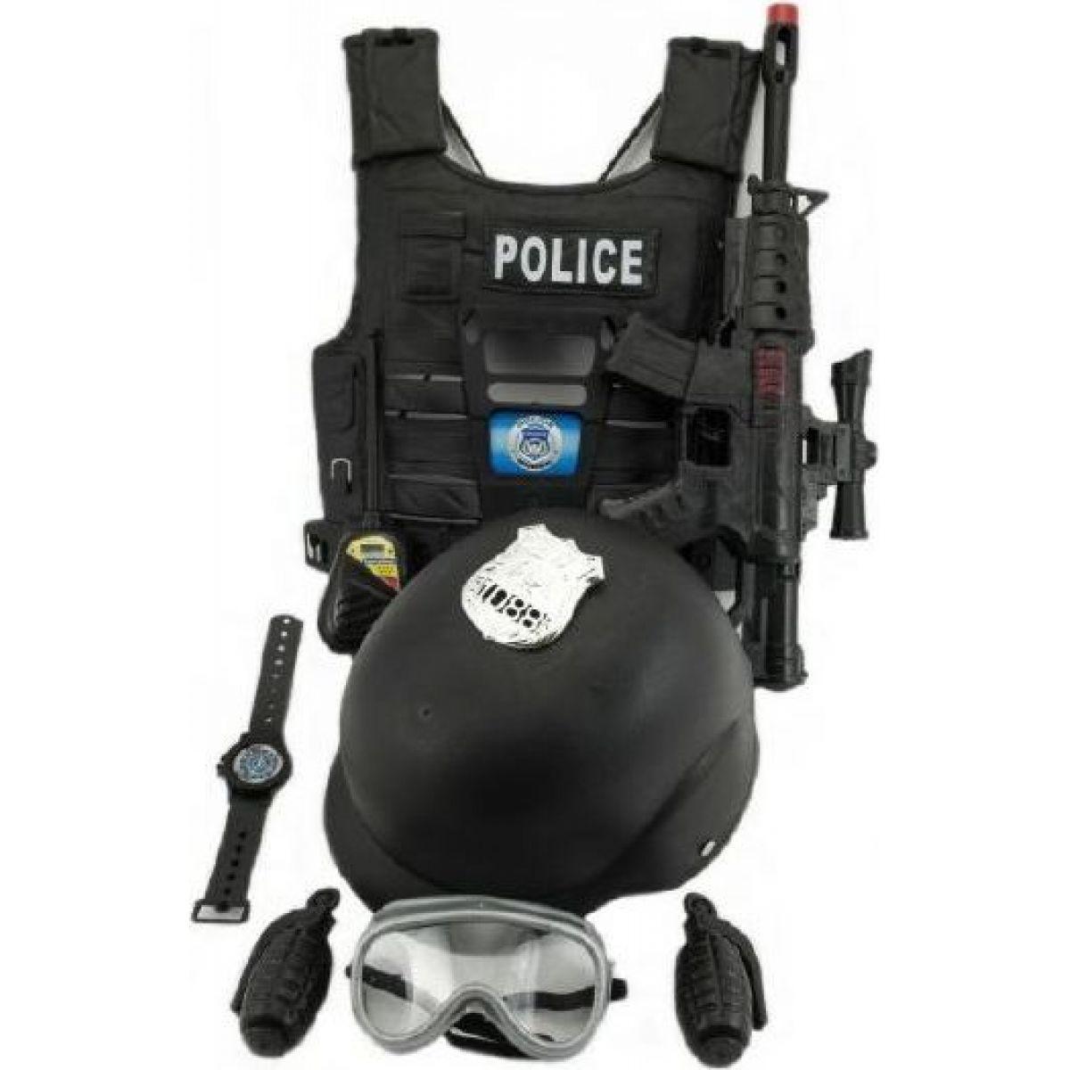 Sada policejní pistole a přilba s doplňky