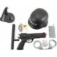 Sada policie SWAT helma s pistolí a doplňky