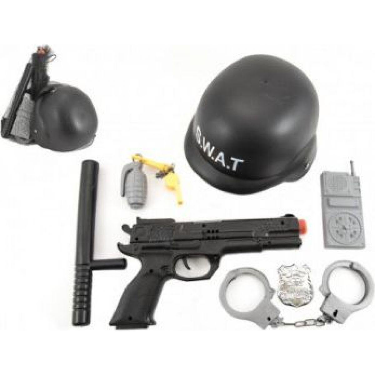 Sada polícia SWAT helma + pištoľ na zotrvačník s doplnkami