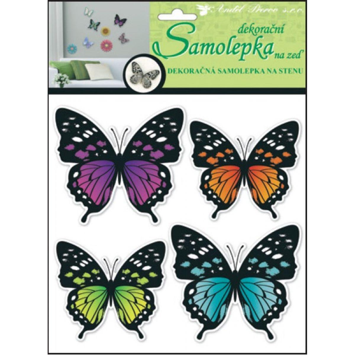 Anděl 10151 samolepící dekorace 3D neonoví motýli 30x22x1cm, 4ks
