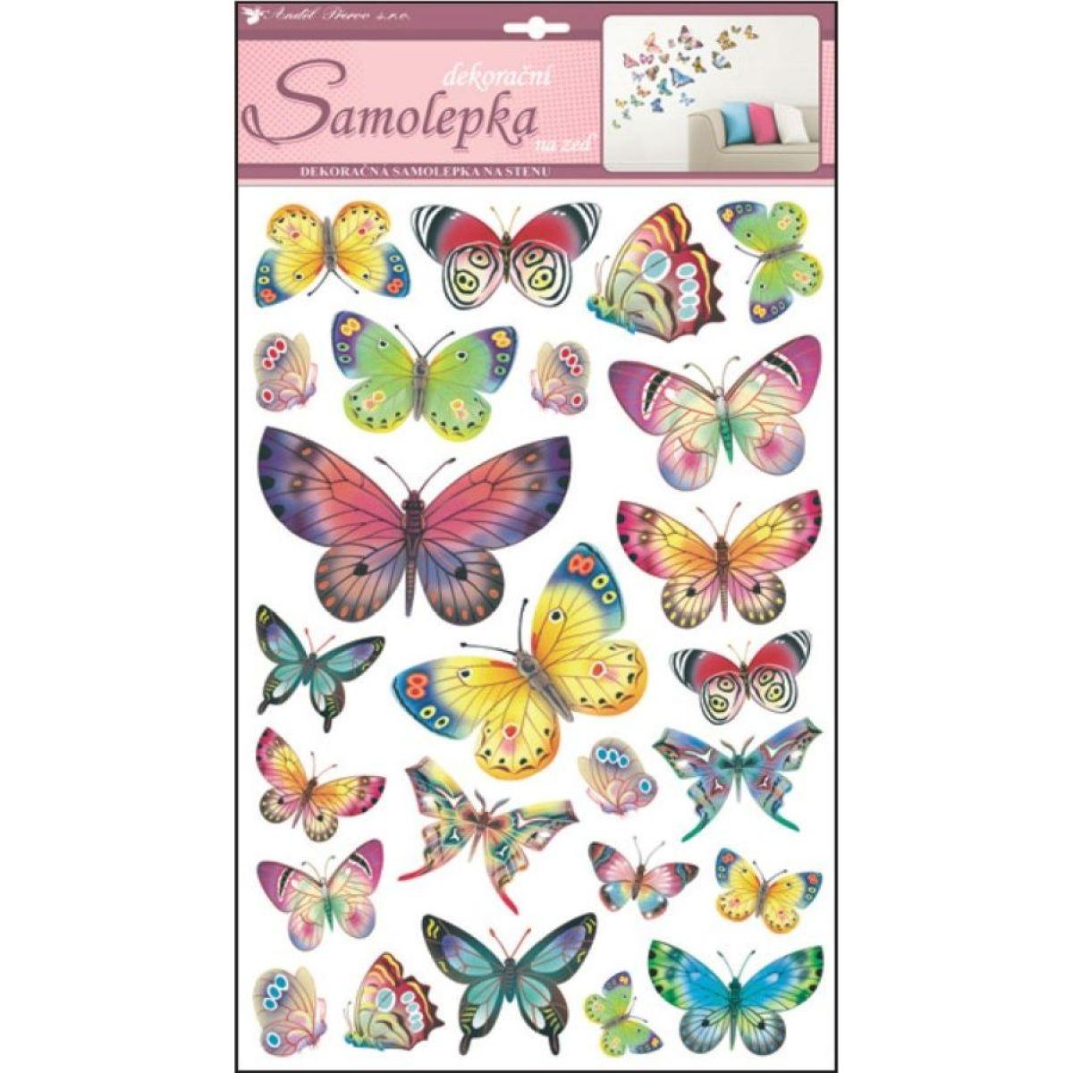 Anděl 10141 samolepící dekorace barevní motýli 53x29cm