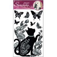Anděl Samolepky na zeď Černé kotě s glitry a kamínky 50 x 32 cm