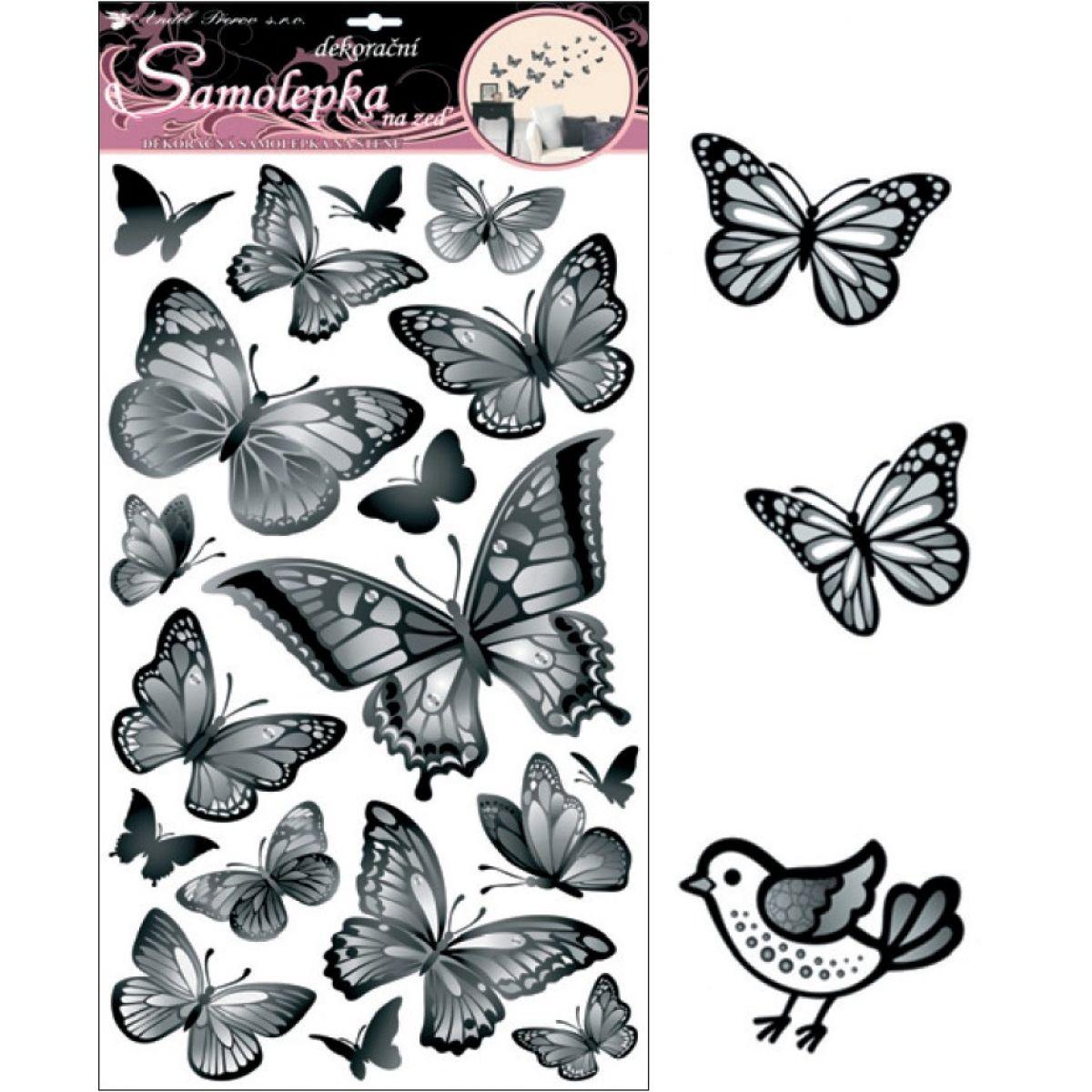Anděl 10146 samolepící dekorace černošedí motýli 70x32cm