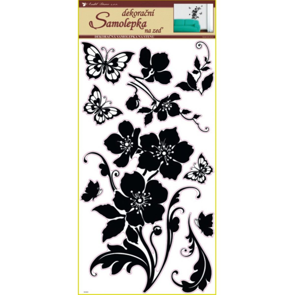 Anděl 1042 samolepící dekorace černé květina s motýli 69x30cm