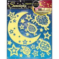 Anděl Samolepky na zeď Měsíc s ovečkami svítící ve tmě 32 x 31 cm