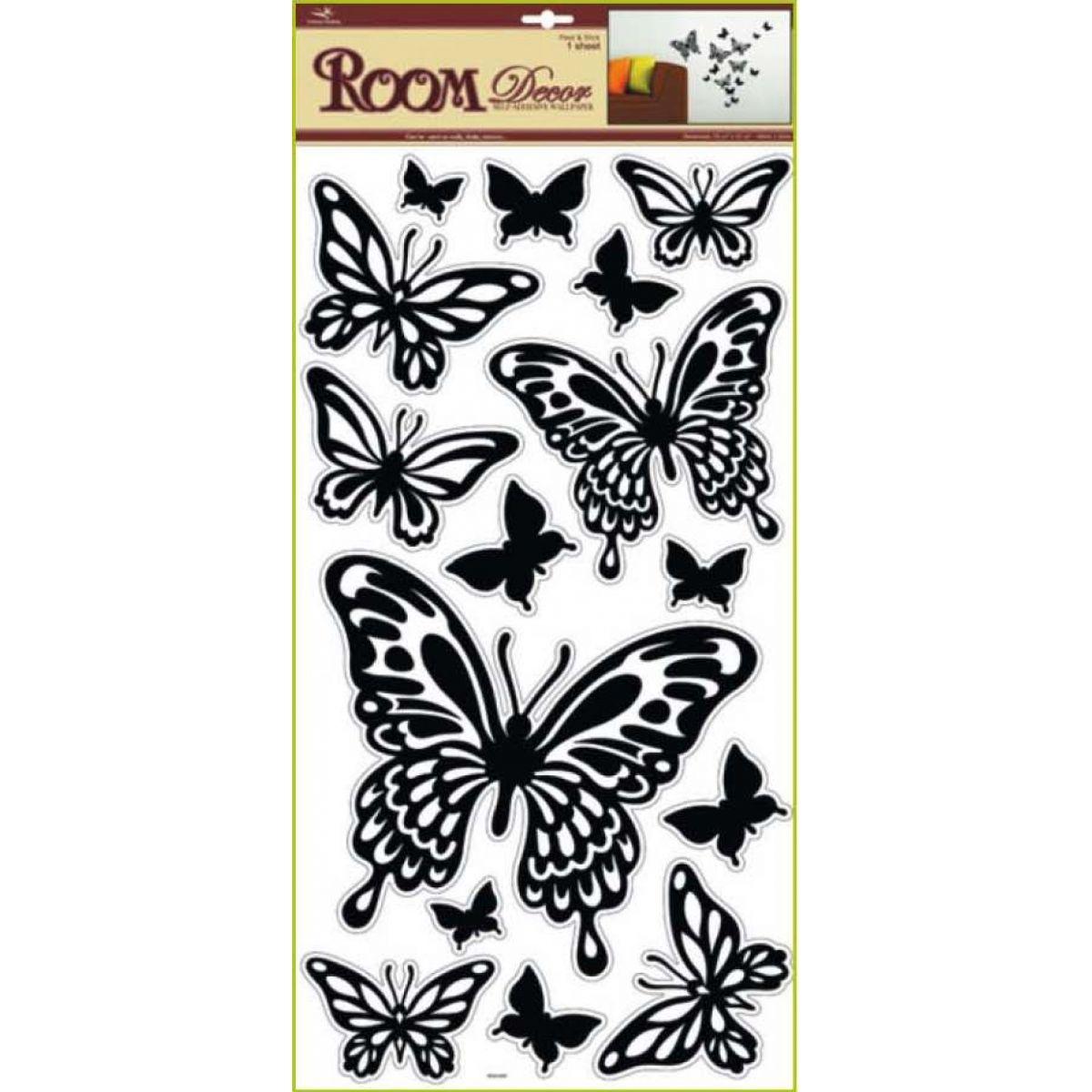 Anděl Přerov - Pokojová dekorace černí motýli 1083 69x30 cm