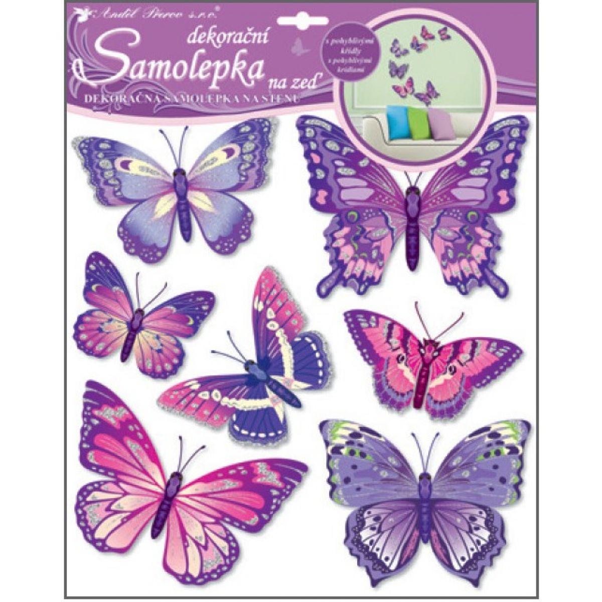 Anděl 10162 Samolepky na zeď motýli fialoví 38x31 cm