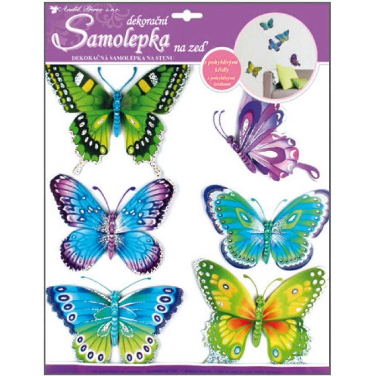 Anděl Pokojová dekorace modrozelení motýli s pohyblivými křídly 3D - 30,5 x 30,5 cm - 678