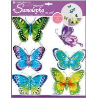 Anděl Samolepky na zeď Motýli modrozelení s pohyblivými křídly 30,5 x 30,5 cm