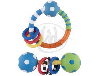Sassy Chrastítka s kroužky - Modro-zelená