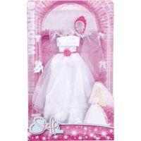 Šaty pro panenku Steffi Svatební růžová korunka