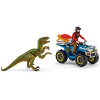 Schleich Útek pred Velociraptorom na štvorkolke