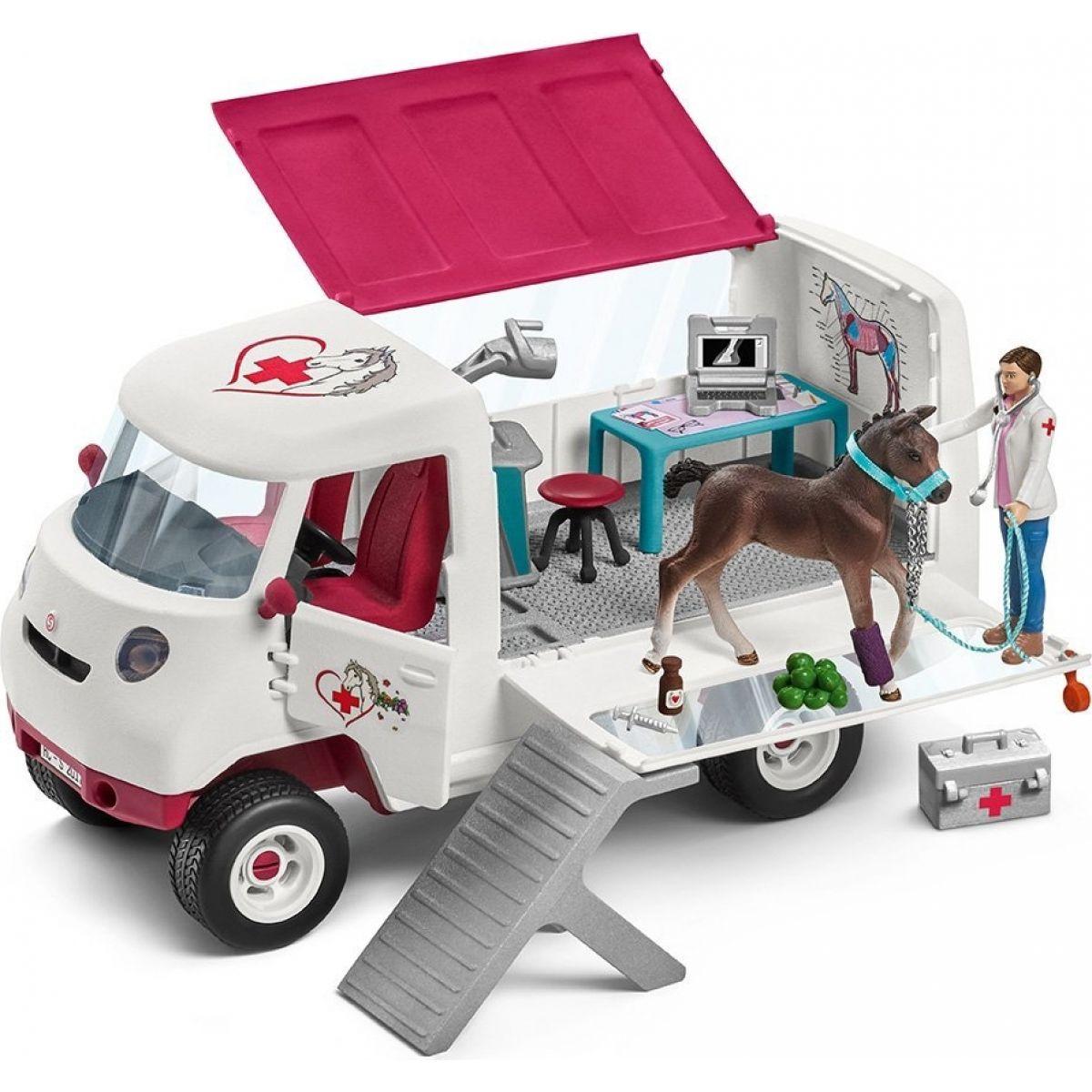 Schleich Mobilní veterinářská klinika s klisnou a ošetřovatelem